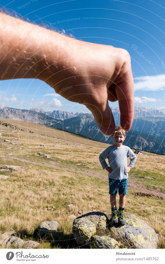 Among giants Vacation & Travel Tourism Summer Summer vacation Mountain Hiking Masculine Child Boy (child) Infancy Hand Fingers 1 Human being 3 - 8 years Sky