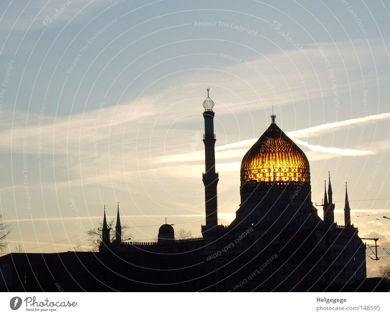 Yenidze in Dresden Mosque Islam Brand of cigarettes Office building Fairy tale 1,001 Night Turkey Domed roof Sunset Industry House of worship Hugo Zietz