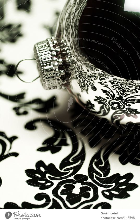 Christmas & Advent White Winter Black Style Feasts & Celebrations Glittering Design Elegant Sphere Lifestyle Kitsch Decoration Luxury Silver
