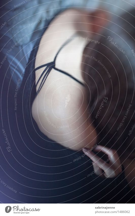 back Human being Feminine Young woman Youth (Young adults) Woman Adults Body 18 - 30 years Emotions Colour photo Interior shot Copy Space bottom Day Blur