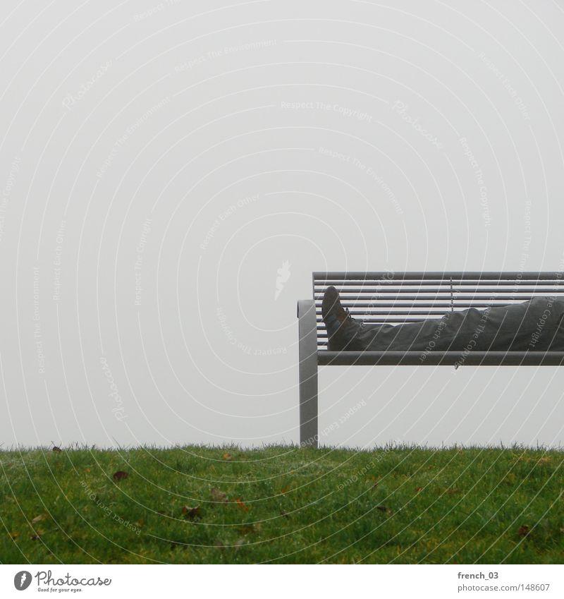financial crisis Bench Legs Feet Footwear Pants Gray Cold Wet Damp Fog Grass Lawn Grass surface Meadow Green England Scotland Autumn Haze Lie Couch Metal