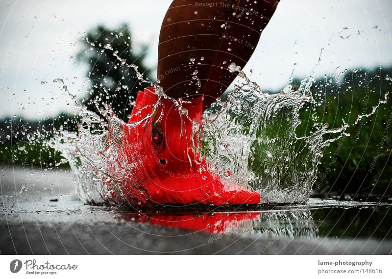 Water Red Joy Autumn Playing Jump Moody Rain Weather Lighting Footwear Pink Dirty Wet Drops of water Action