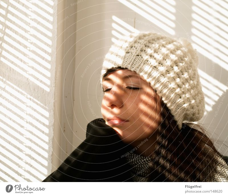 Woman White Sun Loneliness Adults Warmth Cold Autumn Hair and hairstyles Lighting Dream Arm Contentment Closed Stripe Romance