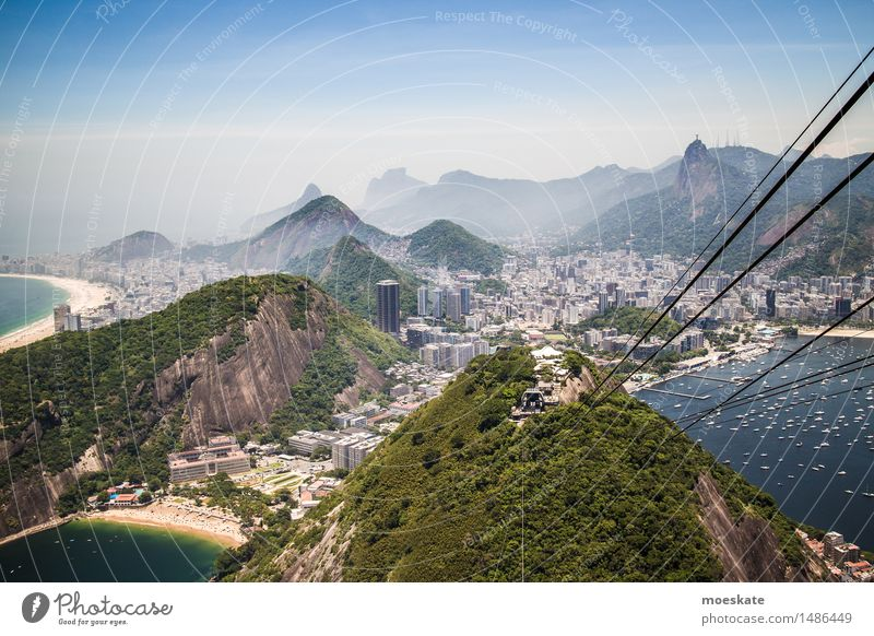 Sugar Loaf Cable Car Town Blue Green Bay Rio de Janeiro Brazil Cable car Sugar Loaf Mountain Beach Copacabana Corcovado-Botafogo Colour photo Subdued colour