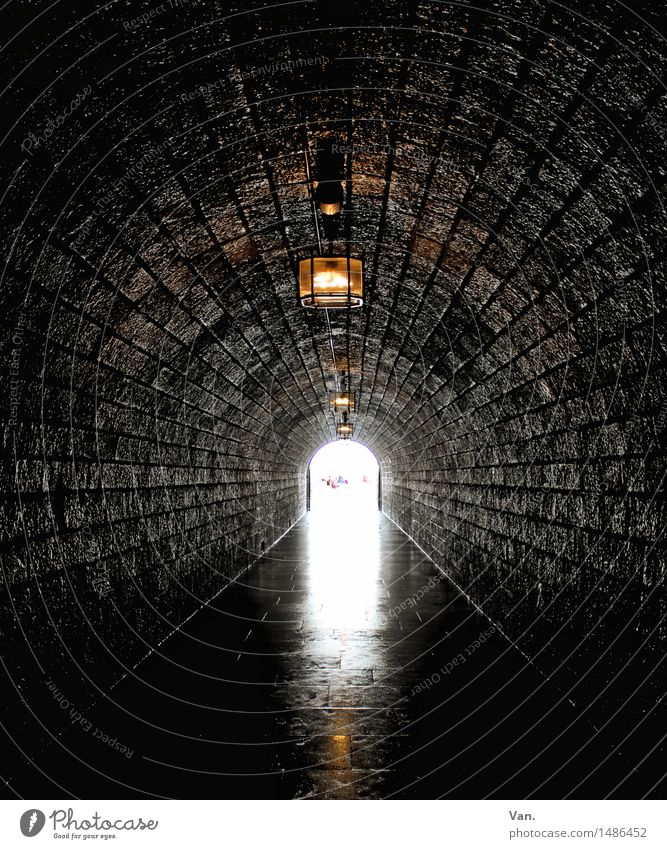 The light at the end of the tunnel Tunnel Dark Long Stone Lantern Lamp Lighting Colour photo Subdued colour Interior shot Deserted Day Artificial light Sunlight