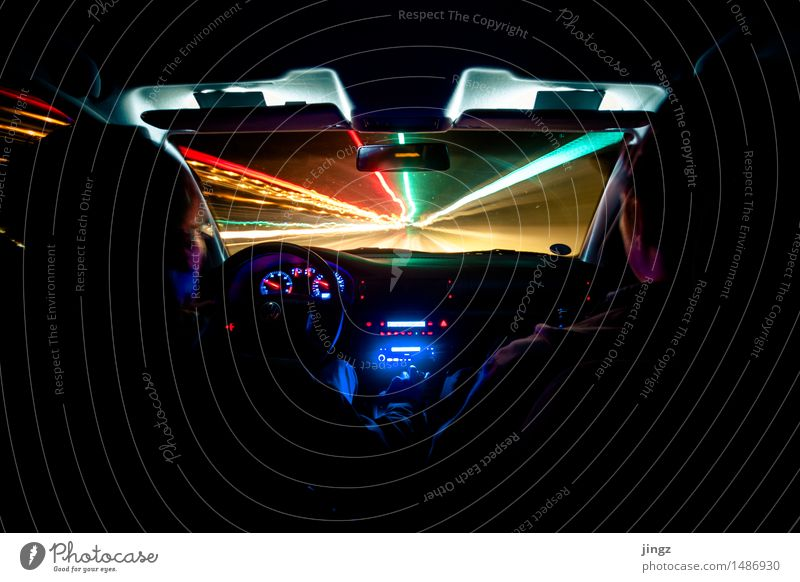 speed of light Car Front side Windscreen Human being 2 Road traffic Motoring Driving Illuminate Looking Dark Infinity Speed Blue Multicoloured Gold Black Dream