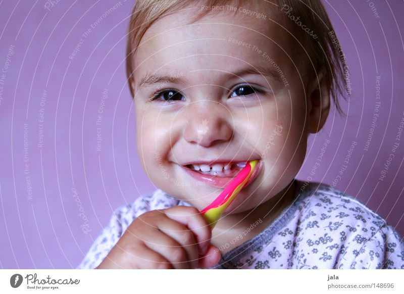 Human being Child Hand White Beautiful Girl Joy Face Laughter Healthy Pink Mouth Esthetic Happiness Cute Cleaning