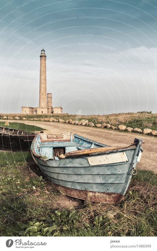 Mar Adentro Sky Beautiful weather Lighthouse Phare de Gatteville Fishing boat Rowboat Old Tall Transience Colour photo Exterior shot Deserted Day