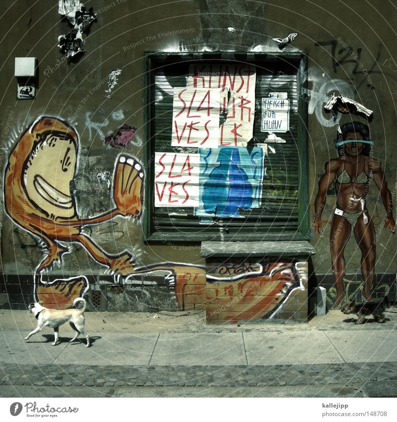 street sweeper Street art Art House (Residential Structure) Wall (building) Adhesive Monkeys Dog Human being Sidewalk Town Subordinate Slaves Bodybuilder