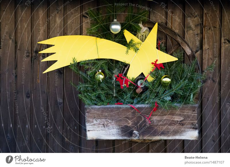 Soon it will be Christmas Feasts & Celebrations Christmas & Advent Wall (barrier) Wall (building) Balcony Sign Esthetic Fragrance Brown Yellow Gold Red Moody