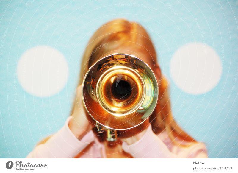 Woman White Wind instrument Music Pink Gold Circle Round Concert Hollow Brass instrument Musical instrument Compass (drafting) Trumpet Light blue
