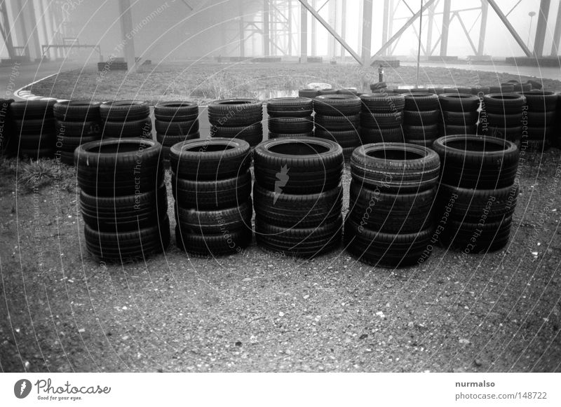tyre bush Tire Rubber Street Racing sports Border Boundary Asphalt Black Exhaust gas Target Alley Fog Hall Silhouette Hannover Pillar Edge Rescue Curve Bend