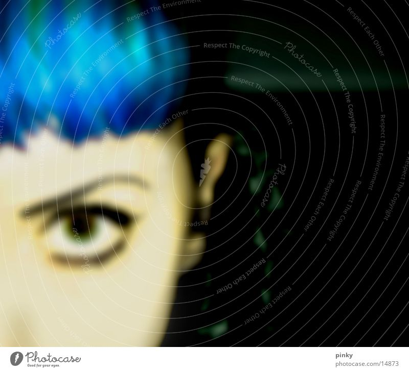 Betty Blue Blur Feminine Woman blue Partially visible Looking black Hair and hairstyles cross face direct look Bangs