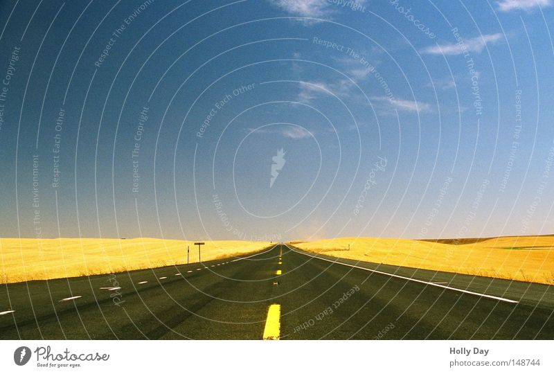Sky Blue Summer Clouds Yellow Far-off places Street Lanes & trails Warmth Field Gold Free Horizon Transport Empty Perspective
