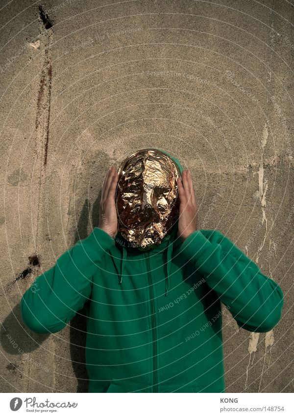 Human being Man Beautiful Face Metal Lighting Gold Fear Exceptional Gold Esthetic Mysterious Mask Wrinkles Statue Hide