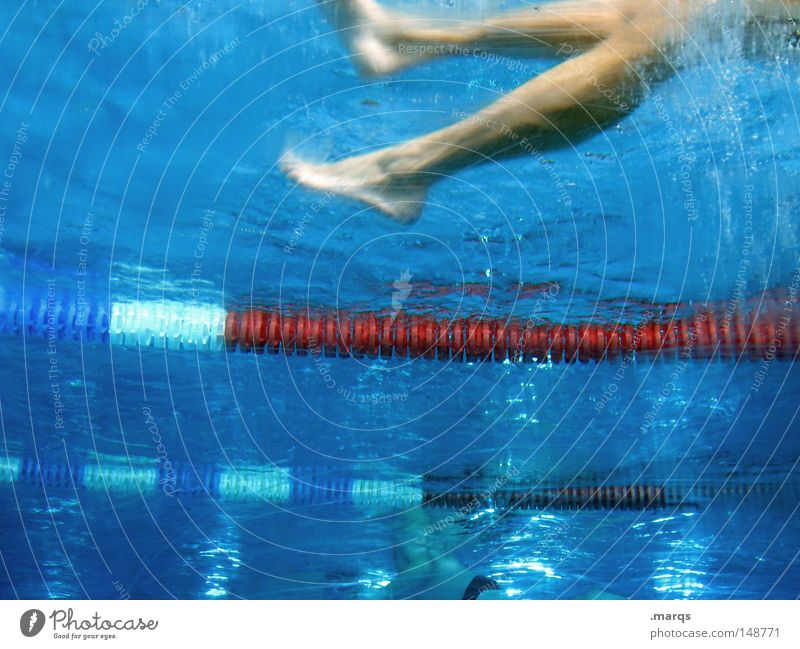 footwork Colour photo Underwater photo Upward Lifestyle Healthy Wellness Leisure and hobbies Playing Bathroom Sports Aquatics Sportsperson Swimming pool Rope