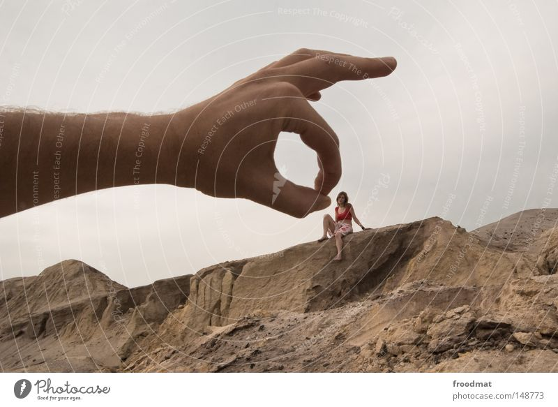 Woman Sky Hand Joy Girl Mountain Funny Gray Germany Sand Dirty Crazy Arm Perspective Large Transience