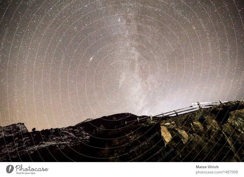 Stars in the mountains II Environment Elements Earth Cloudless sky Night sky Horizon Spring Autumn Winter Beautiful weather Hill Rock Alps Mountain Peak