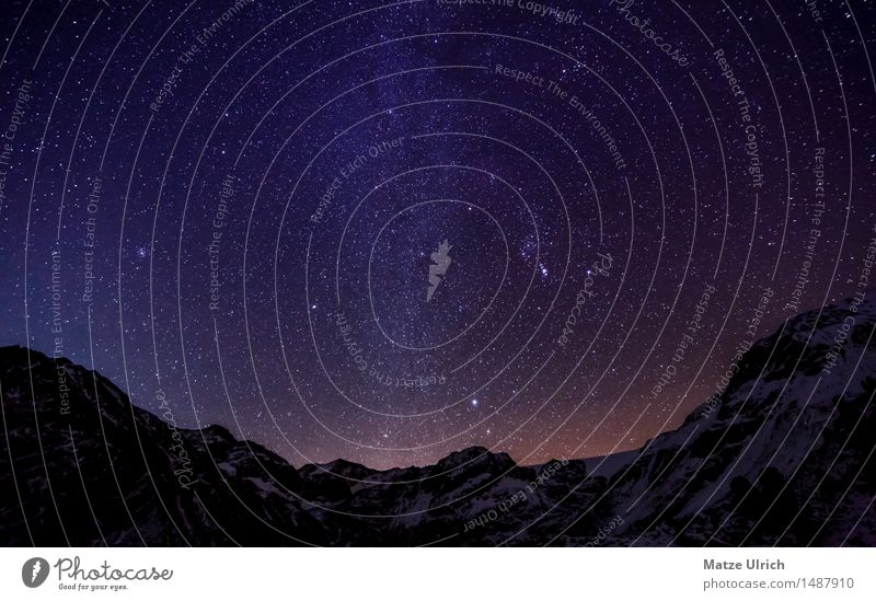 Stars in the mountains III Environment Nature Landscape Cloudless sky Night sky Winter Climate Weather Beautiful weather Hill Rock Alps Mountain Peak