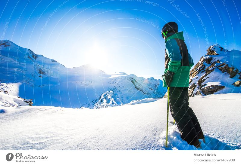 Human being Sky Nature Youth (Young adults) Young woman Young man Sun Winter Mountain Environment Sports Snow Snowfall Beautiful weather Skiing Cloudless sky
