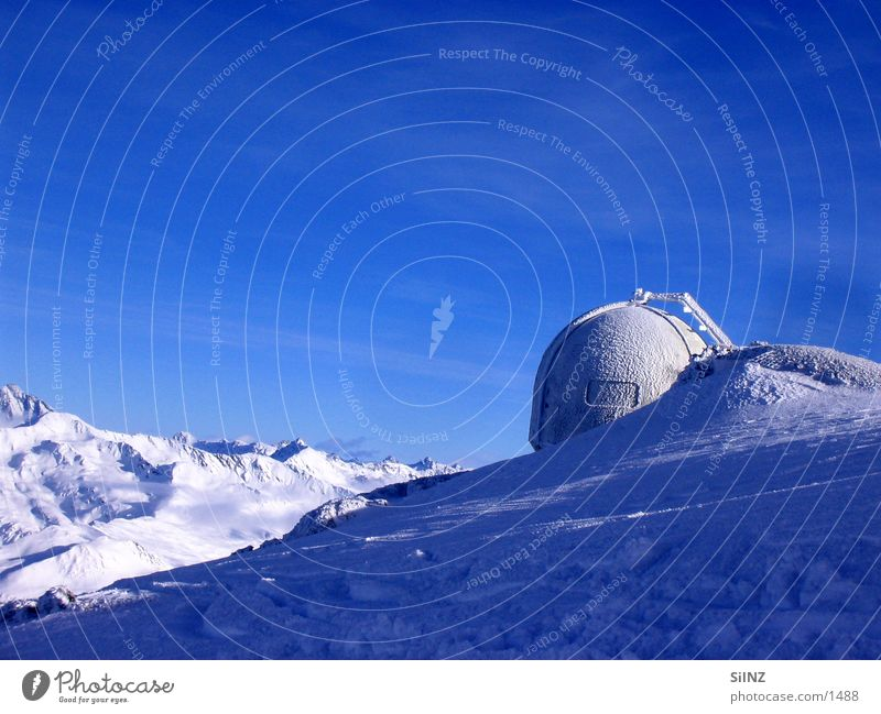 White Blue Winter Calm Cold Snow Mountain Ice Tall Switzerland Alps Peak Canton Graubünden Radar station Davos Weather station