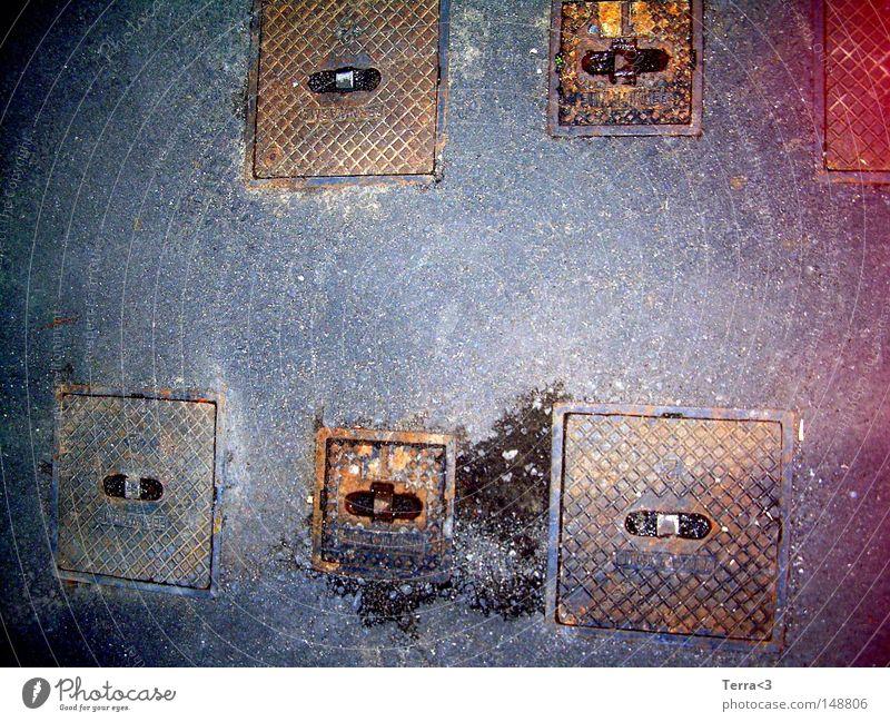 Red Black Street Gray Brown Metal Dirty Metalware Asphalt Part Trashy Rust Traffic infrastructure 6 Gully