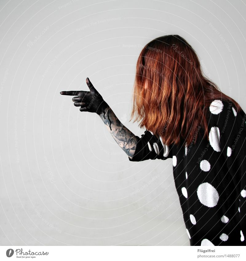 Blind violence Feminine Woman Adults 1 Human being 18 - 30 years Youth (Young adults) Force Hair and hairstyles Red-haired Point Shoot Black Watercolor Hand