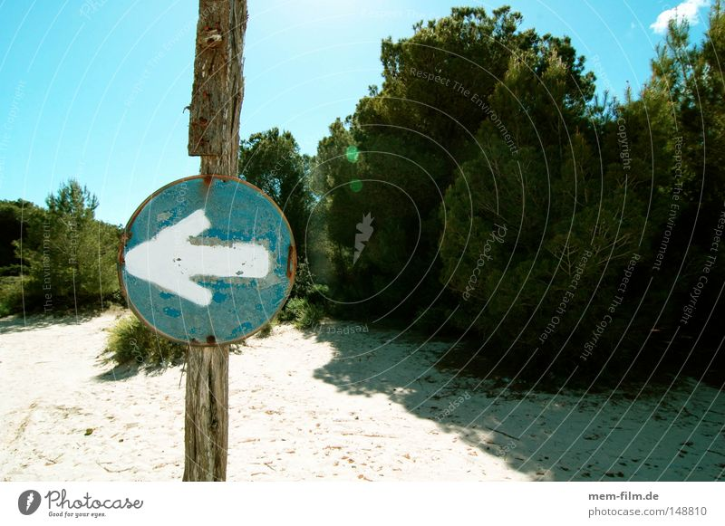 to the left! Arrow Signs and labeling Beach Blue Sky Signage Warning label Left Right Dune Majorca Parking Road sign Turn off Warning sign Navigation system