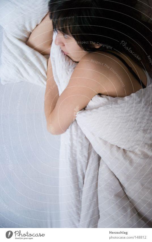 Woman White Calm Loneliness Think Sleep Bed Trust Anger Partner Blanket Aggravation Cushion Matrimony Treasure Pillow