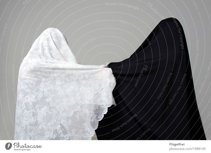 good and evil 2 Human being Dance Pull Argument Black White Burka Cloth Textiles Lace Packaged Contrast Converse Divided Anonymous Peace War Colour photo