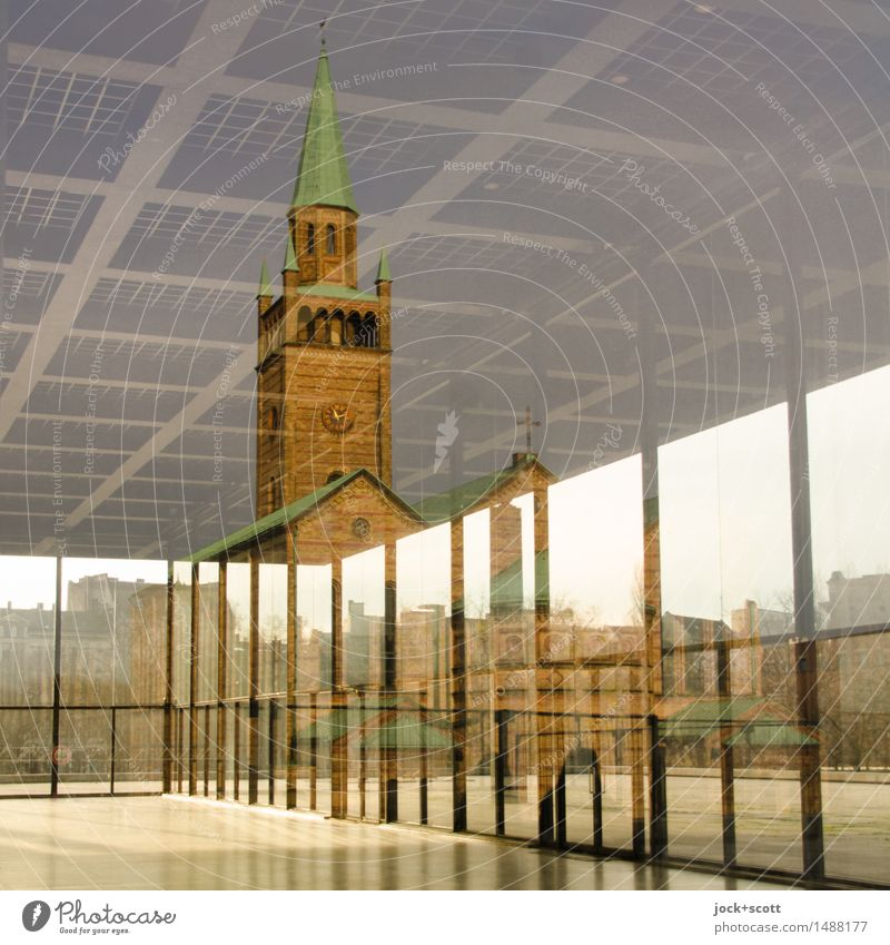 Old meeting new City Far-off places Architecture Style Modern Esthetic Perspective Church Culture Change Historic Network New Manmade structures