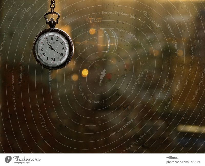 Pocket watch at the window in the rain. autumn blues Clock Clock hand Rain Window Time Window pane Fob watch Digits and numbers Clock face Period of time