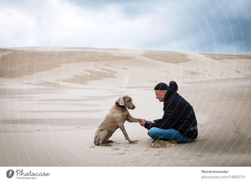 eye-level Senses Meditation Far-off places Human being Man Adults Landscape Elements Sand Climate Desert Animal Dog Sit Together Trust Agreed Loyal Sympathy
