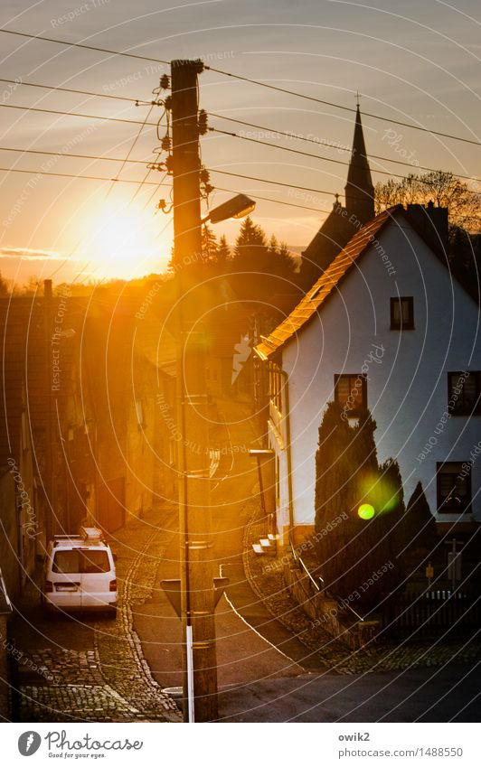 occident Street lighting Electricity pylon Cable gonna Saxony-Anhalt Germany Harz Village Populated House (Residential Structure) Church Building Church spire