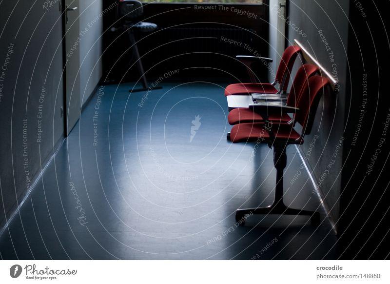 Blue Red Dark Door Room Fear Wait Floor covering Gloomy Chair Pain Seating Location Panic Corridor