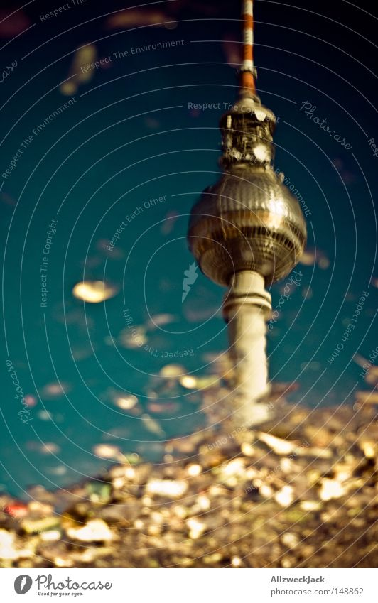 Sky Water Blue Leaf Autumn Berlin Wet Sphere Monument Rainwater Landmark Radio (broadcasting) Puddle Capital city Berlin TV Tower Antenna