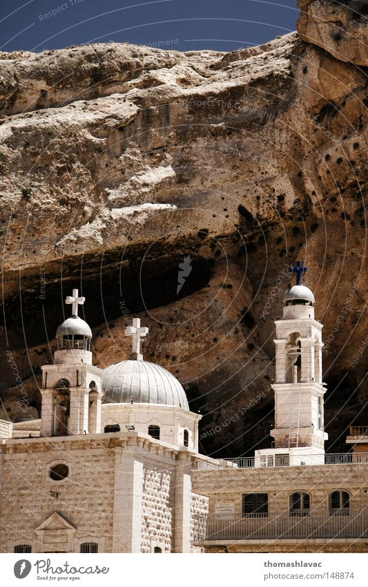 Saint Thekla monastery Church Tower Desert Asia Crucifix Christianity Bell Syria Monastery House of worship Near and Middle East Christian cross Chapel