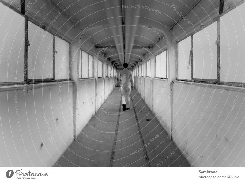 endless Corridor Going Symmetry Window Empty Infinity Old building Black White Gray Loneliness Escape Stride Man Doomed Lanes & trails Steel Concrete