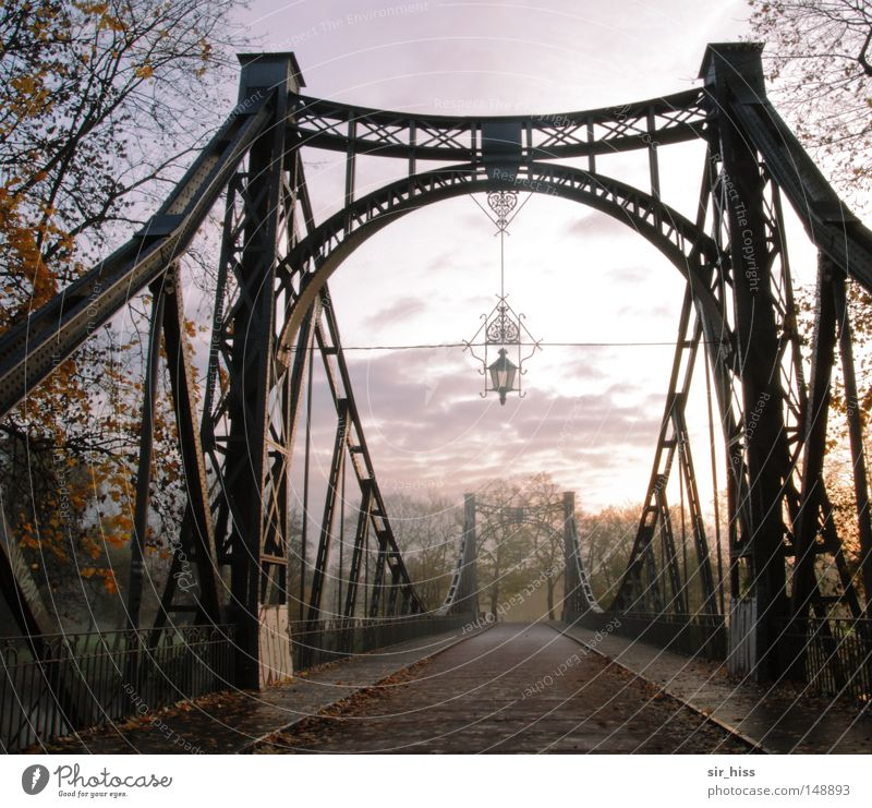 prior to the transfer Autumn Fog Bridge Street Steel Old Esthetic Positive Brown Yellow Green Red Emotions Contentment Warm-heartedness Longing Wanderlust