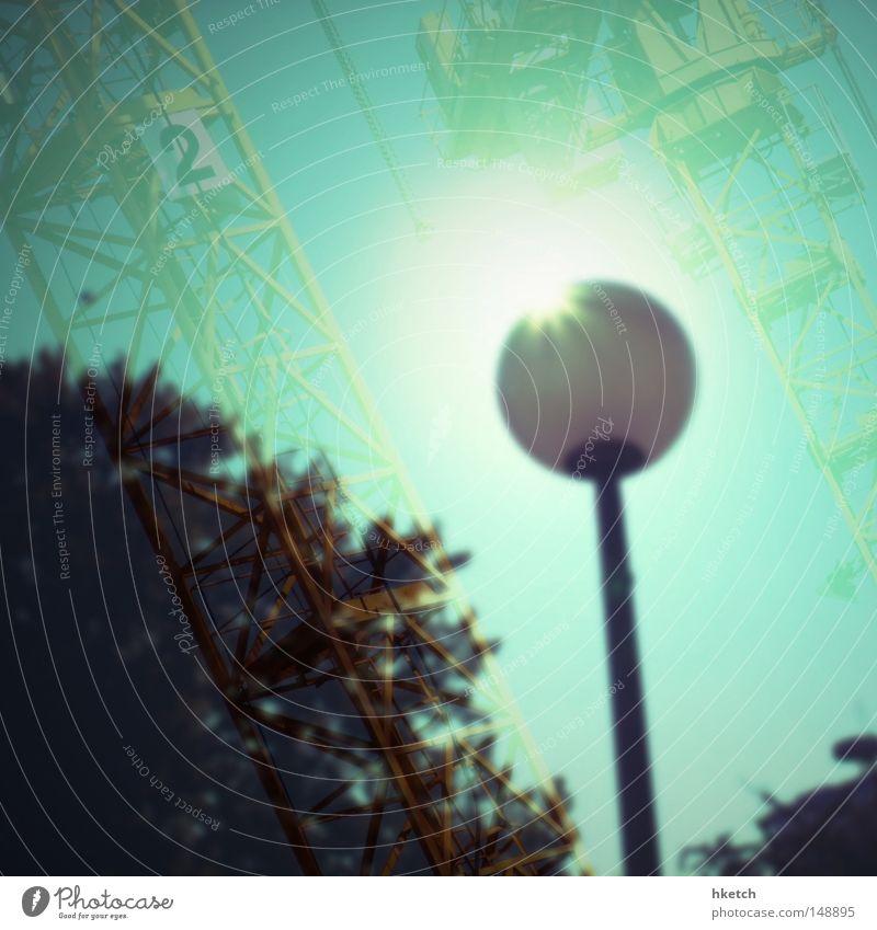 Sky Tree Sun Lamp Lantern Crane Double exposure Celestial bodies and the universe