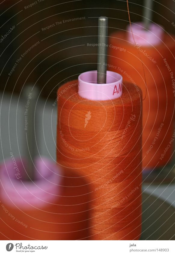teamwork Sewing thread Spool Coil Factory Orange Sewing machine String Needle Multicoloured Wrapped around Wound up Cotton Process Thin Fine Long Pattern