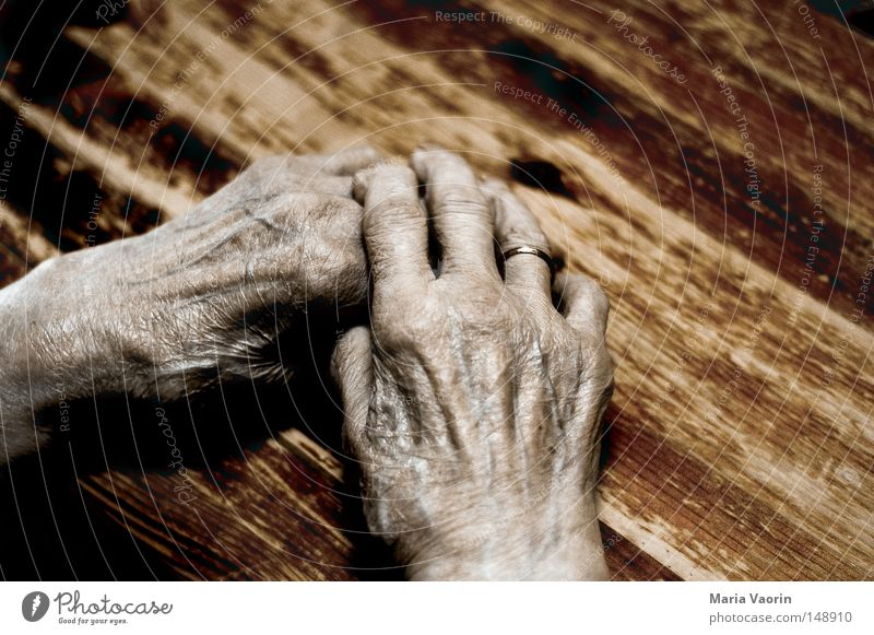 Woman Old Hand Calm Loneliness Life Death Emotions Senior citizen Warmth Time Skin Fingers Break Grief Transience