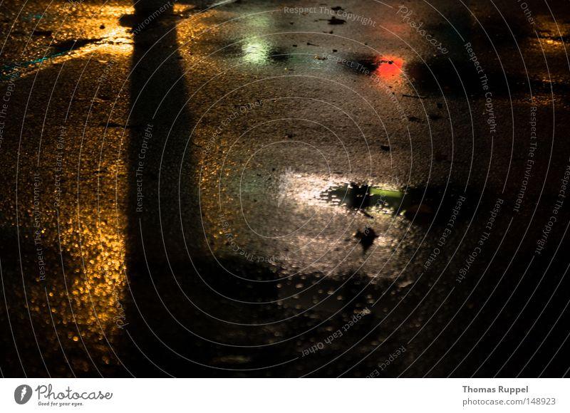 Street Colour Lamp Dark Gray Rain Wet Asphalt Mirror Traffic infrastructure Puddle