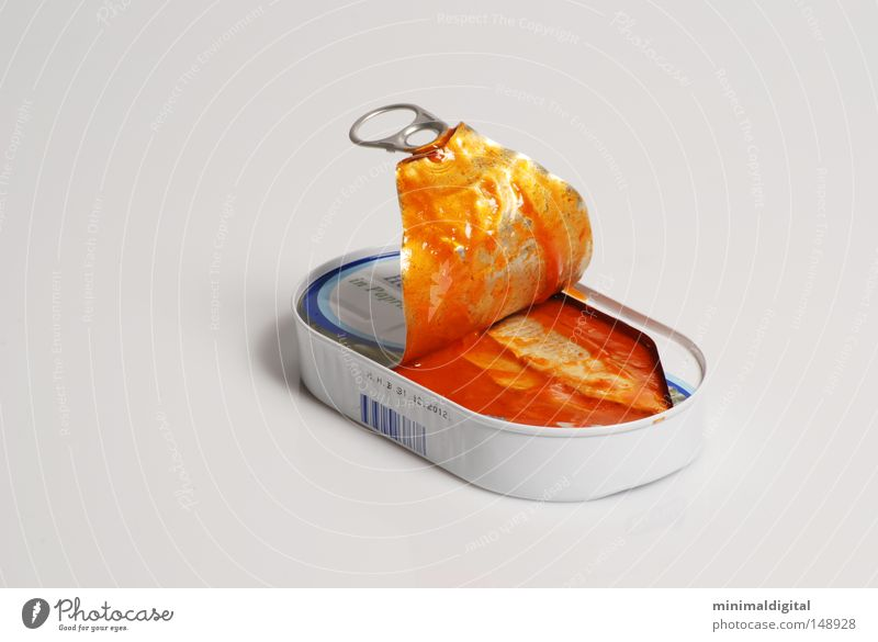 The canned food Tin Tin of food Delicious Nutrition Sense of taste Salmon Sauce Ocean Fishing (Angle) Gray Red Torn Food Herring pickled Contrast Water Metal