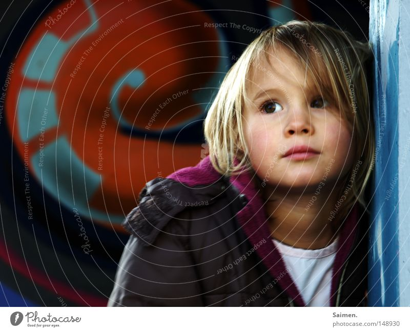 Child Beautiful Girl Face Graffiti Wall (building) Sadness Think Gloomy Posture Model Jacket Boredom Dreamily Lean Pressure