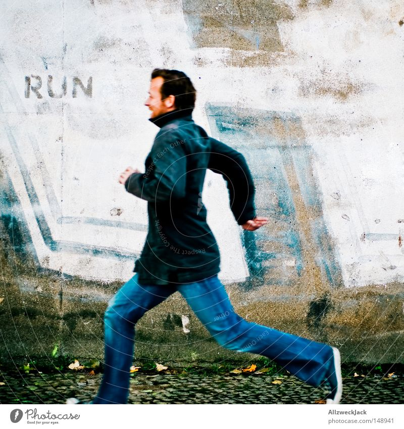 Man Wall (building) Graffiti Playing Wall (barrier) Going Fear Walking Running sports Escape Panic Runner Sportsperson Flee Sprinter