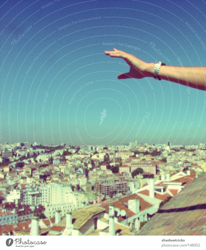 Sky Hand City Blue Far-off places House (Residential Structure) Landscape Movement Horizon Roof Turquoise Vantage point Progress Portugal Lisbon