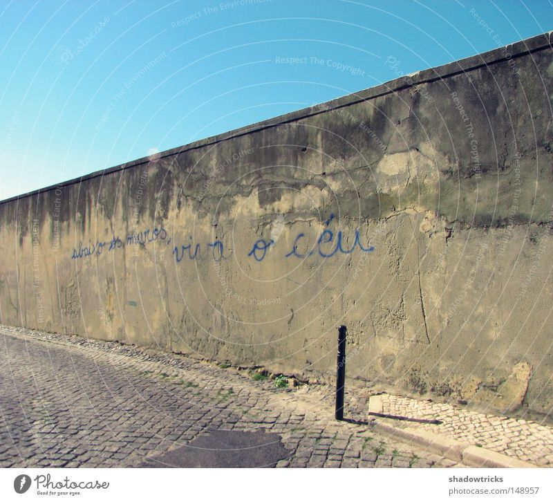 Old Sky Life Wall (barrier) Lanes & trails Graffiti Perspective Europe Characters Derelict Decline Typography Portugal Wisdom Language Figure of speech