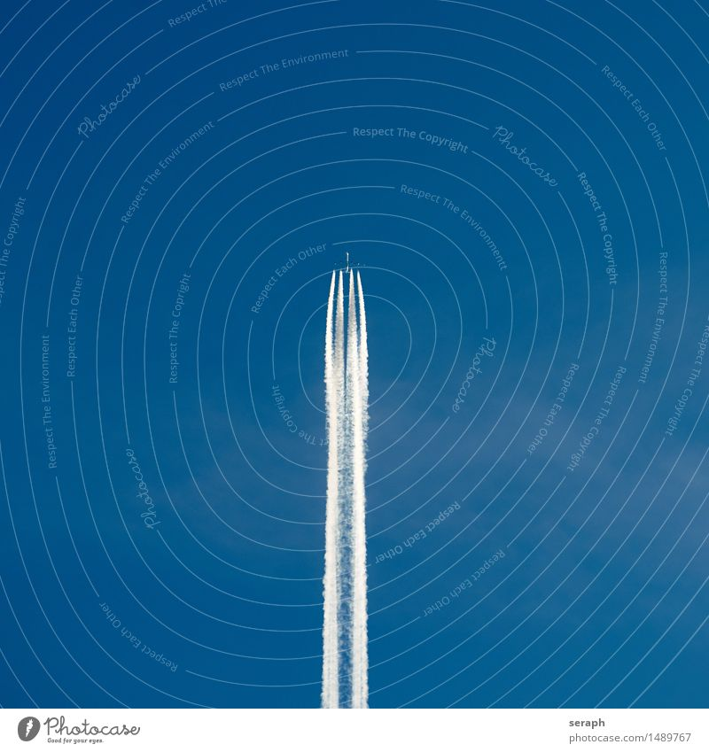 Jet Airplane Vacation & Travel Tall Level Travel photography Passenger plane Vapor trail Clouds Sky Blue Far-off places Wanderlust Go up Departure