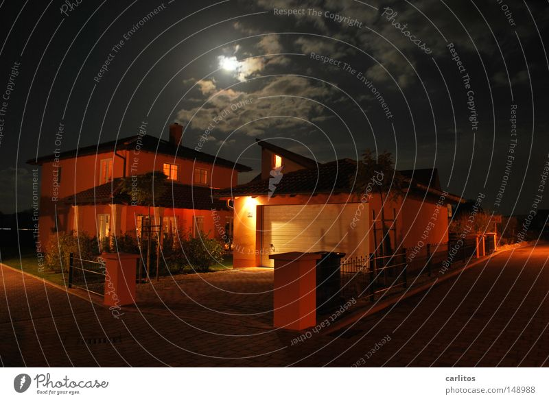 Dark it was, the moon shone brightly Night Full  moon Light Shadow House (Residential Structure) Detached house Conceptual design Construction supervisor